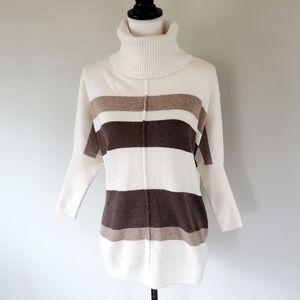 THE LOFT Cream/Brown Dolman Sweater- Size S (NWOT